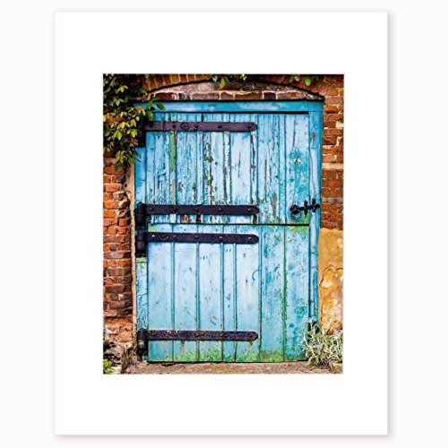 Country Farmhouse Wall Art, Blue Rustic Decor, Old Rural Countryside Barn Door Picture, 8x10 Matted Photographic Print, 'Flakey and Blue' by Offley Green