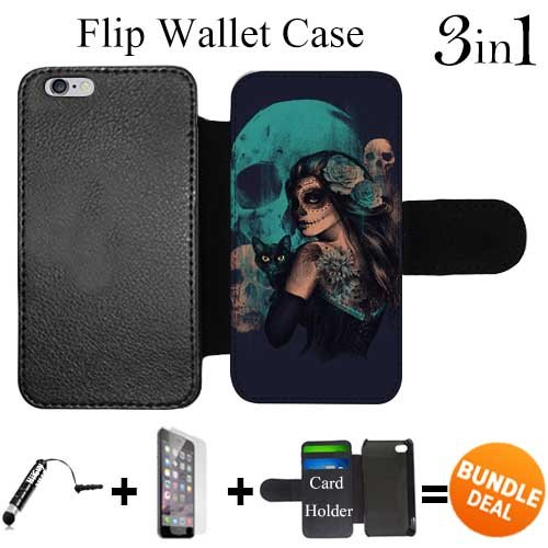 Day Of The Dead Women Black Cat And Skull Custom iPhone 6 Wallet Cases/6S Wallet Cases,Bundle 3in1 Comes with HD Tempered Glass/Universal Stylus Pen by innosub (Women The For Day Of Wallets Dead)