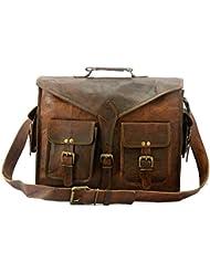 Handmade_World Genuine Leather Messenger Bag 18 Laptop Bag Leather Satchel Briefcase Bag ABB.