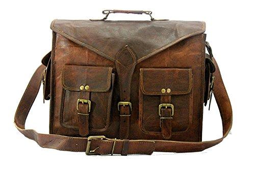 Handmade World leather messenger bag for men 16 inch briefcase computer laptop bags mens satchel vintage brown ()
