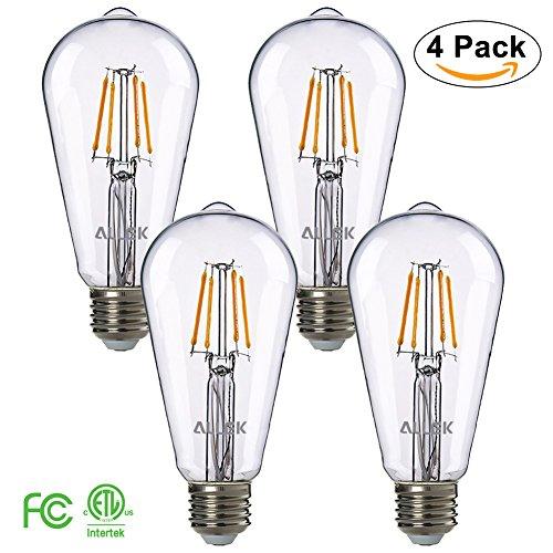 LED Filament Bulb, Allek ST21 (E26 Medium Base) 4.5W, 40W Incandescent Equivalent, 400LM, Warm Light 2700K, 360 Degrees Beam Angle Dimmable Clear Pendent Light Bulb, ETL Listed (4 - - Bulb 40 Watt Max