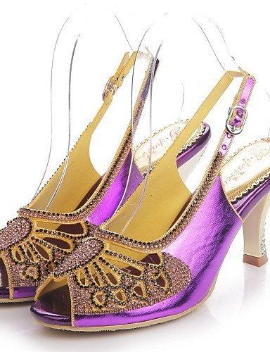 ShangYi Womens Shoes Leather Stiletto Heel Heels / Peep Toe Sandals Party & Evening / Dress / Casual Black / Purple / Gold Purple