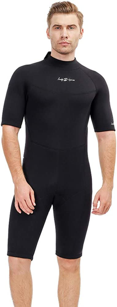 Men's Shorty 3 MM Wetsuit,Backzip Surf Suit Jumpsuit for Scuba Diving, Snorkeling,Surfing and Other Water Sports with Adjustable Collar