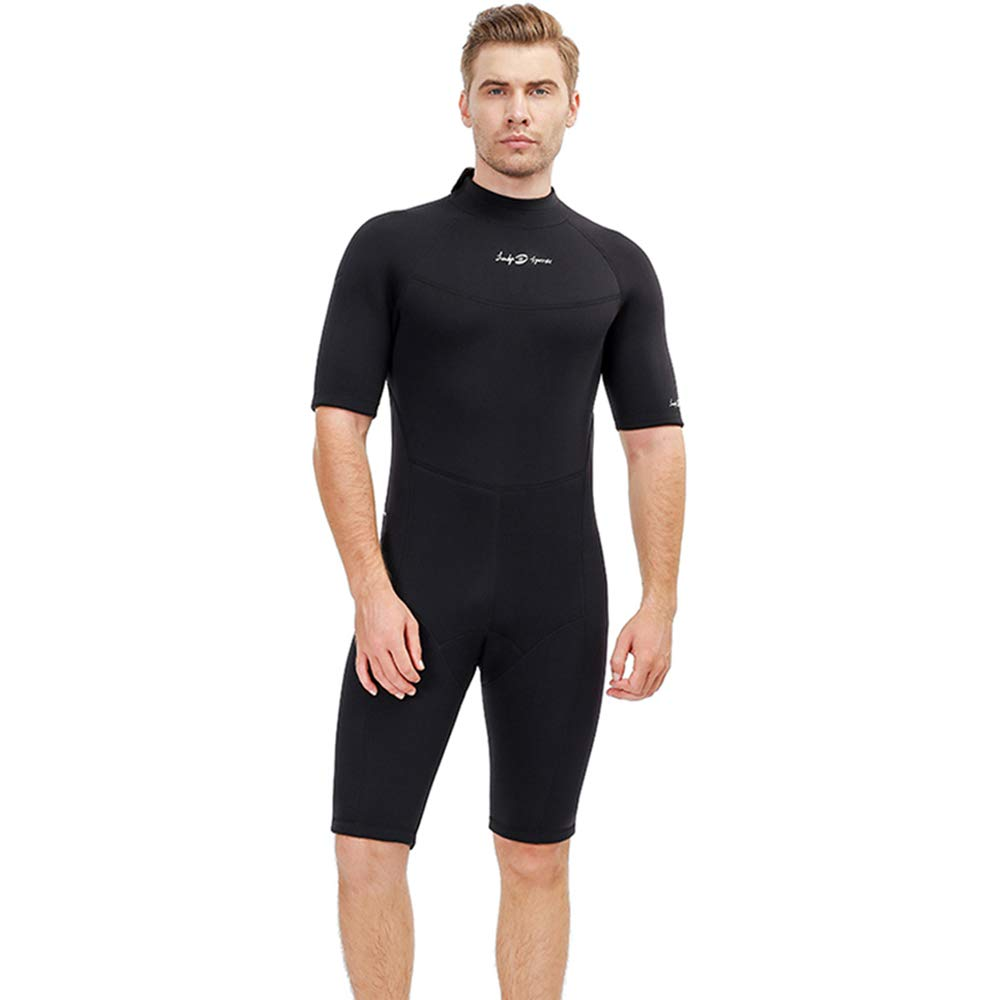 Men's Shorty 3 MM Wetsuit,Backzip Surf Suit Jumpsuit for Scuba Diving, Snorkeling,Surfing and Other Water Sports with Adjustable Collar (Medium) by lockys sports