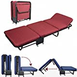 All In one Rollaway Guest Bed Night Heavy Duty Steel Frame With Foam Mattresses With Diamond Style Cover(Twin Size(35.5″Wide), Red)