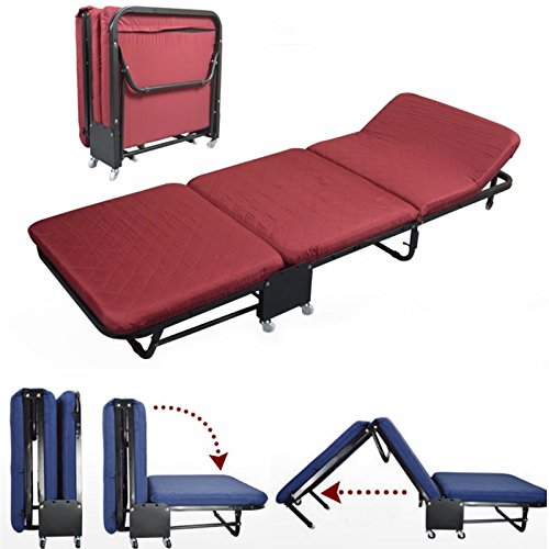 All In one Rollaway Guest Bed Night Heavy Duty Steel Frame With Foam Mattresses With Diamond Style Cover(Twin Size(35.5''Wide), Red) by Magshion Futon Furniture (Image #6)
