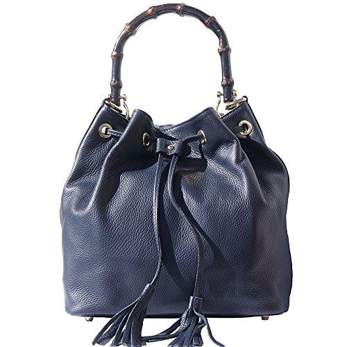 Marino En Bolso Leather Azul Con 9135 Bambú Asa Cuero Genuino De Y Market Florence Cubo nXgEq6nU