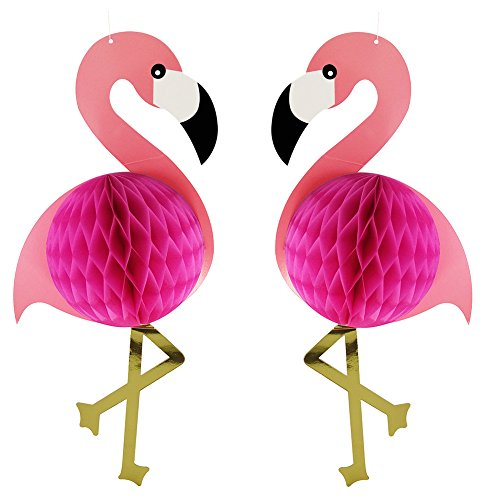 2Pcs Flamingo Honeycomb Hanging Decorations 21