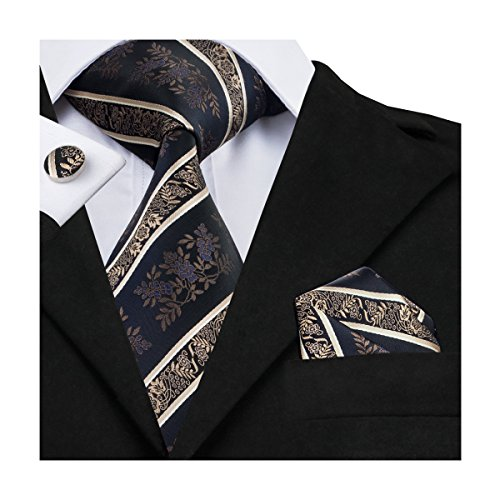 Hi-Tie Mens Black Brown Floral Woven Silk Tie Necktie Hanky Cufflinks set