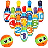 Wekity Kids Bowling Toy Set--Foam Ball Toys, 10 Pins and 2 Bowling for Toddlers Boys and Girls Indoor Outdoor Bowling Games Preschool Development Sport (Colorful)