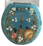 Daniel's Bath & Beyond Polyresin Round Seahorse Toilet Seat, 17'', Blue