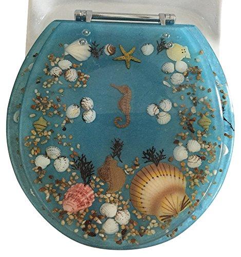 Daniel's Bath & Beyond Polyresin Round Seahorse Toilet Seat, 17'', Blue by Daniel's Bath & Beyond