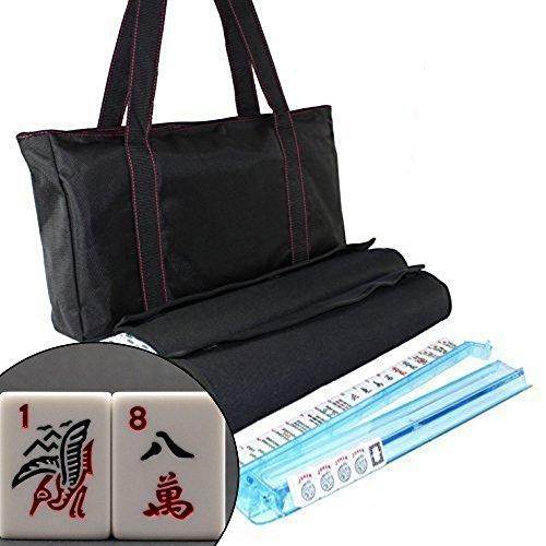 American Mahjong Set Waterproof Black Nylon Red Stitches Bag 4 Color Pushers/Racks Western Mahjongg