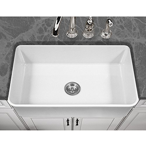 Houzer PTG-4300 WH Platus Series Apron-Front Fireclay Single Bowl Kitchen Sink, 33'', White by HOUZER (Image #1)