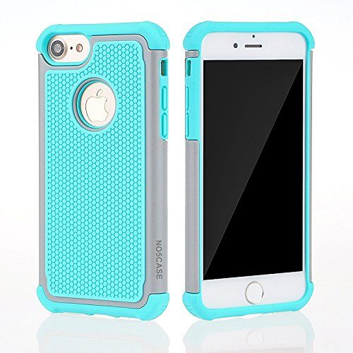 Accucase iPhone 8 Case,iPhone 7 Case(Not Plus) 4.7 inch Hybrid Dual Layer Rubber Plastic Impact Defender Rugged Scratch Resistant Phone case for iPhone 8&7 (Green-Gray) -