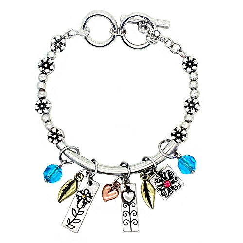 """Garden of Life Hand Stamped 6.5"""" 7"""" Toggle Bracelet with Six Two Sided Charms, Faith"""