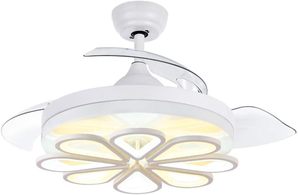 KJRJDS Ventiladores de techo con luces y lámpara de techo retráctil invisible moderna moderna Luz de ventilador Iluminación LED 42