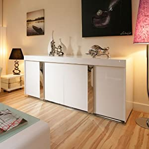 Modern Sideboard / Cabinet / Buffet in White High Gloss 2.0mtr ...