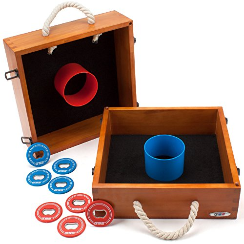 Premium Quality Outdoor Solid Wood Washer Toss Game Set for Backyard, Lawn and Beach (Oak) ()