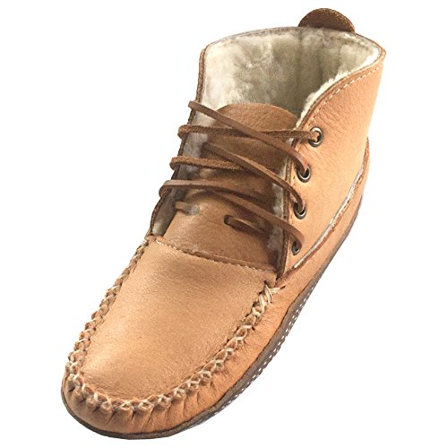 (Bastien Industries Women's Moose Hide Leather Sheepskin Lined Earthing Ankle Moccasin Boots (8))