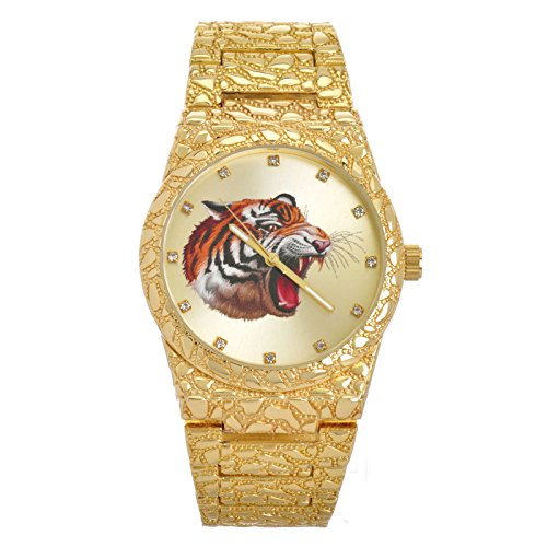 Men's Hip Hop Nugget Iced Out CZ Gold Plated Tiger Metal Band Watches WM 8364T G