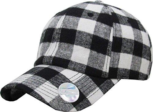KBETHOS KBE-Plaid Wht-Blk 6 Panel Buffalo Plaid Dad Hat Baseball Classic Adjustable Soft Plain Cap (Buffalo Hat Leather)