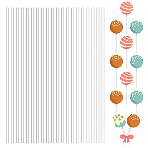 100 Pieces Lollipop Sticks Acrylic Candy Pop Sticks Cake Chocolate Ice Cream Sticks Clear Sugar Stir Sticks Clear…