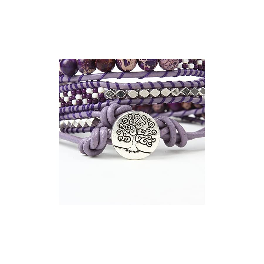 Bonnie Leather Wrap Bracelet Bead Tree of Life Handmade 3 Wrap Bangle for Men (4mm Crazy lace Agate)