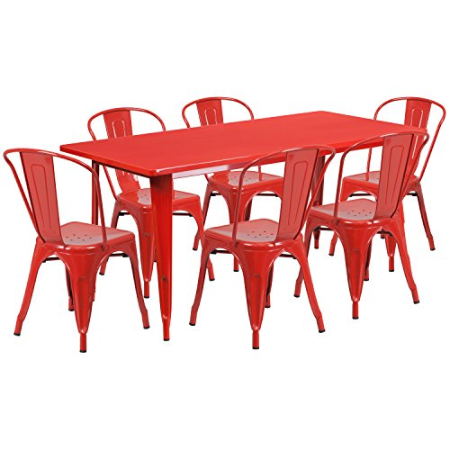 Flash Furniture 31.5 x 63 Rectangular Red Metal Indoor-Outdoor Table Set with 6 Stack Chairs