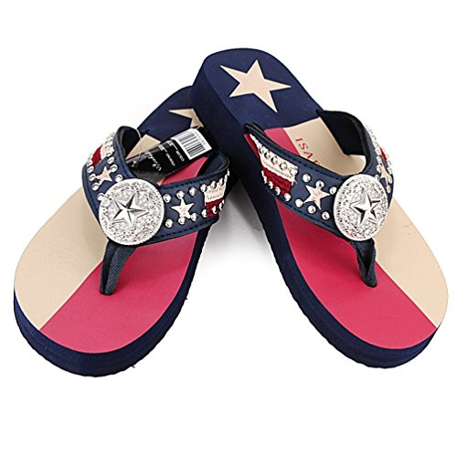Women Flip Flop Flat Texas Lone Star Flag Western Ladies Slipper Navy Blue Sandals (M ( size 7-8)) -