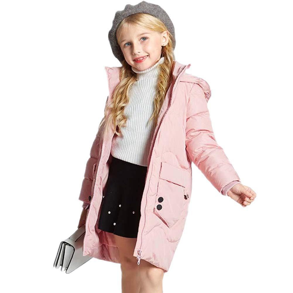 rose 160cm RSTJ-Sjc Manteau de Remplissage de Duvet de Canard de Doudoune d'enfants de Filles, Conception à Capuchon Outwear, Manteau idéal d'enfants d'hiver