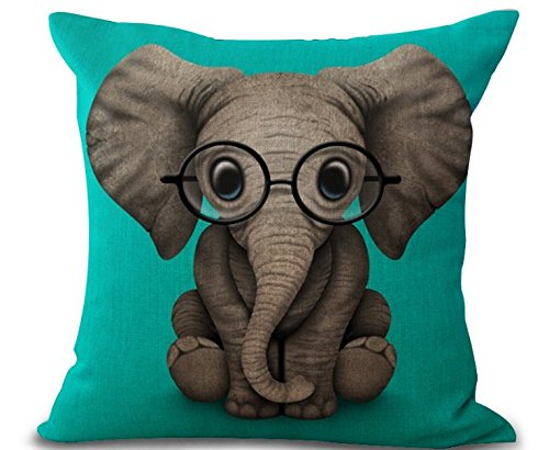 (Phapyness Funny Lovely Animals Abstract Adorable Elephant Baby Wearing Glasses Green Background Cotton Linen Throw Pillow Case (elephant) ...)