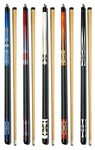 "Set of 5 Pool Cues New 58"" Billiard House Bar Pool Cue Sticks GJ-1~GJ-5"