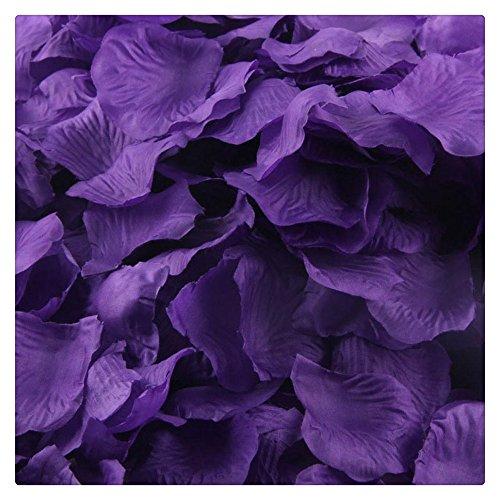 Artificial Flowers,FTXJ 1000pcs Silk Rose Artificial Petals Wedding Party Flower Favors Decorations (purple 1) (Purple Wedding Flowers)