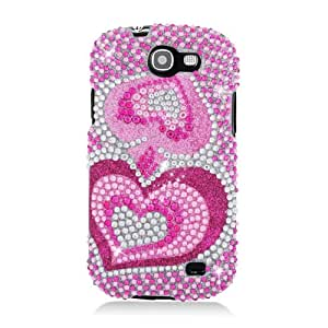 Samsung Galaxy Express i437 Bling Gem Jeweled Jewel Crystal Diamond Pink Silver Two Hearts Cover Case