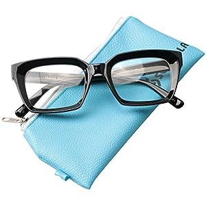 SOOLALA Retro Desinger 50mm Large Lens Square Reading Glass Big Eyeglass Frame, Black, +4.0