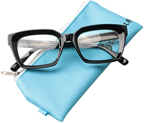 SOOLALA Retro Desinger 50mm Large Lens Square Reading Glass Big Eyeglass Frame, Black, +1.75