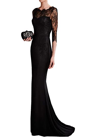 Special Bridal Lace Evening Dresses Sleeves Party Dress Mermaid Prom Dresses 2017 Long Sexy Black US2