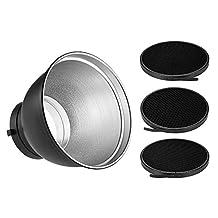 "Andoer 7"" Standard Reflector Diffuser Lamp Shade Dish with 20° 40° 60° Honeycomb Grid for Bowens Mount Studio Strobe Flash Light Speedlite"