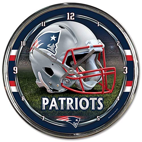 (NEW ENGLAND PATRIOTS NFL CHROME ROUND CLOCK by WinCraft)