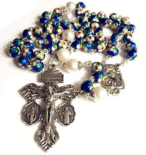 elegantmedical Handmade Nice Blue Cloisonne & 10mm Pearl Beads Rosary Necklace Italy Pius X Indulgenced Pardon Crucifix Cross