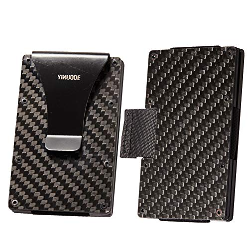 Carbon Fiber Credit Card Holder RFID Blocking Anti Scan Metal Wallet Money Cash Clip-Drawing type
