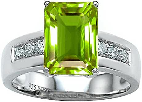 Star K Classic Octagon Emerald Cut 9x7 Ring with Simulated Peridot and Cubic Zirconia