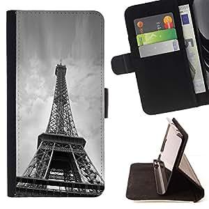 For Sony Xperia Z3 Plus / Z3+ / Sony E6553 (Not Z3) Case , Arquitectura Torre Eiffel continuación- la tarjeta de Crédito Slots PU Funda de cuero Monedero caso cubierta de piel