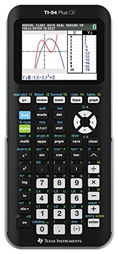 Texas Instruments TI-84 PLUS CE Graphing Calculator,  Black (Frustration-Free Packaging) (84PLCE/PWB/2L1/A) (Ti 84 Plus Ce Graphing Calculator Manual)