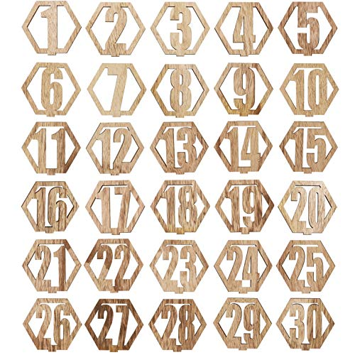 Bright Creations Wood Table Numbers 1-30 for Weddings, Crafts (Christmas Number 1)
