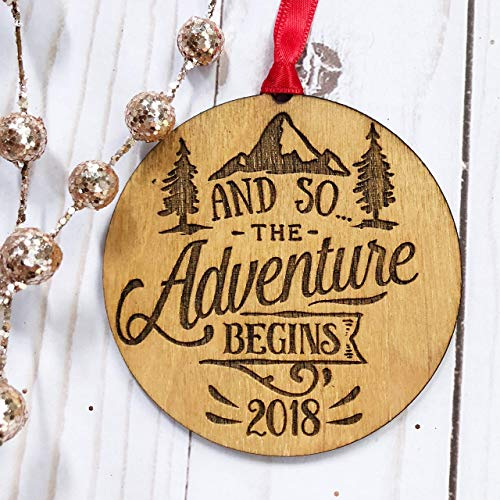 And So the Adventure Begins, New Chapter in Life, Wedding Having a Baby Moving Wedding Baby Shower Housewarming Gift Idea, Rustic Christmas Tree Ornament Laser Engraved Wood