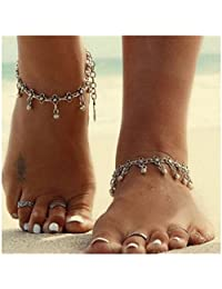 Womens Hollow Out Carved Flower Tassel Foot Jewelry Anklet Silver