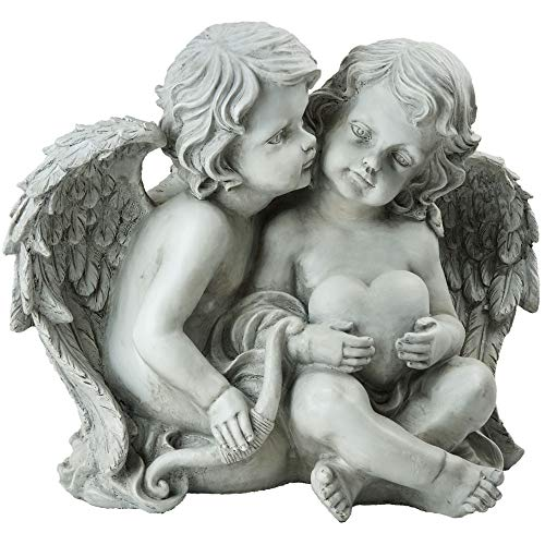 Northlight Sitting Cherub Angels Holding a Heart and and Bow Outdoor Garden Statue, 16.25