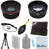 Vivitar 62mm 0.43x Wide Angle Lens + 2.2x Telephoto Lens with Deluxe Lens Accessories Kit for Vivitar Pro Series 62mm 2.2x High Definition AF Telephoto Lens for Sony FDR-AX1 Digital 4K Video Camera Recorder, HDR-FX7, 3CMOS HDV 1080i, HVR-V1U HDV Camcorder for Nikon AF Zoom Nikkor 70-300mm f/4-5.6G Lens, AF-S VR Micro-Nikkor 105mm f/2.8G IF-ED Lens, AF-S VR Micro-Nikkor 105mm f/2.8G IF-ED Lens, AF-S Micro-Nikkor 60mm f/2.8G ED Macro Autofocus Lens Telephoto AF Micro Nikkor 200mm f/4.0D ED-IF Autofocus Lens and and More Models + eCost Microfiber Cleaning Cloth + eCost Microfiber Cleaning Cloth